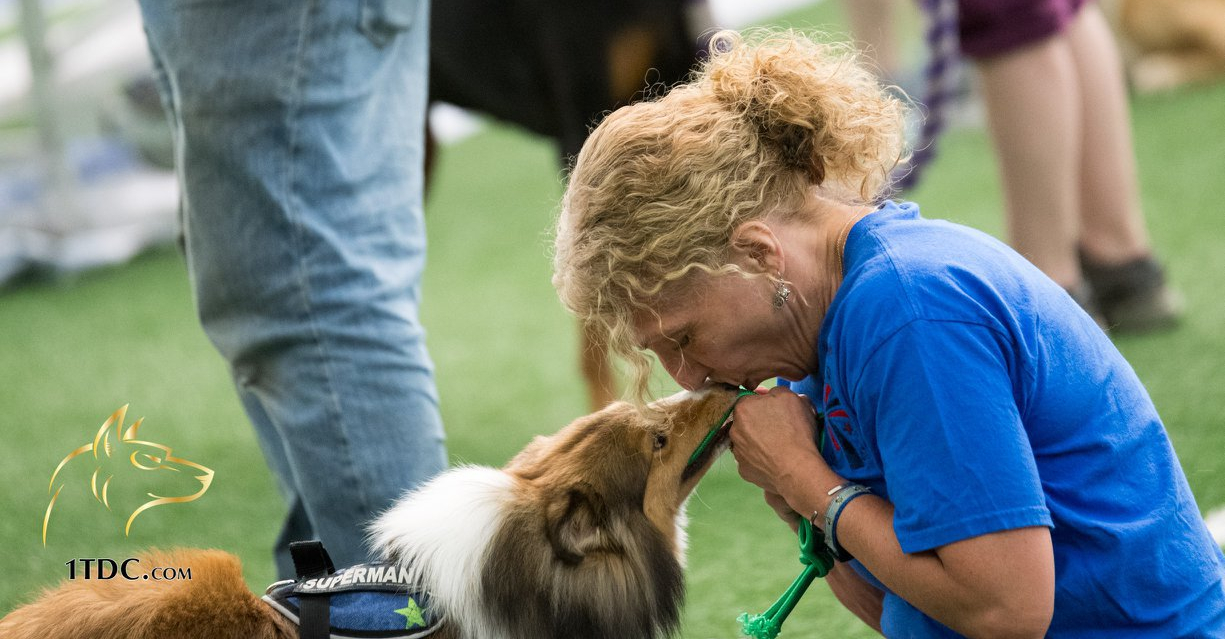 Woman kissing a dog on the nose.